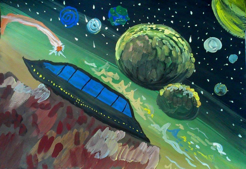 """""""Космічний корабель"""" Жуков Нікіта 10 років Зіньківська дитяча художня студія """"DaVinci"""" номінація - """"художники - діти"""""""