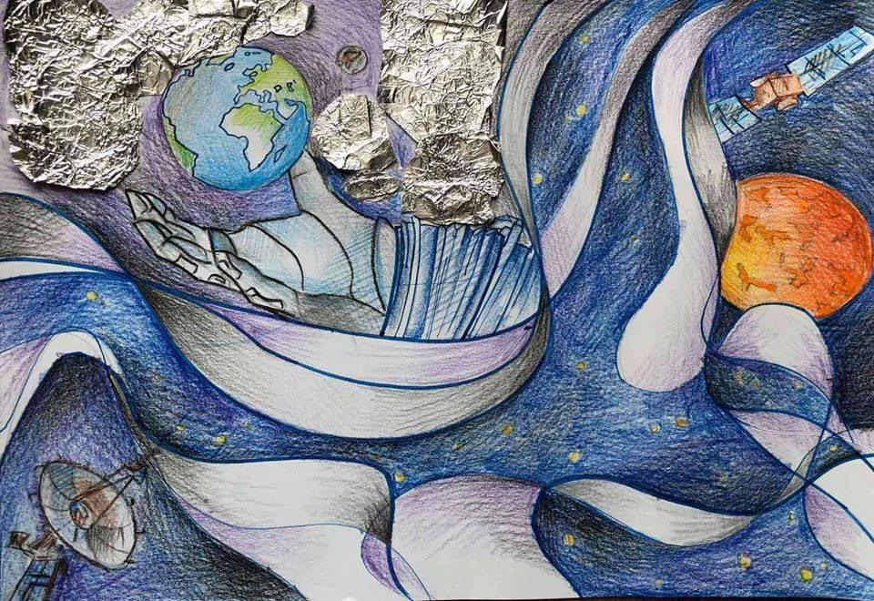 """""""Ми сідаєм до ракети, щоб відкрить нові планети."""" Коновалова Анна 14 років Навчальний заклад: КЗ """"Полтавський міський багатопрофільний ліцей №1 імені І. П. Котляревського"""" номінація - """"симпатії - відвідувачів"""" 27 голосів!"""